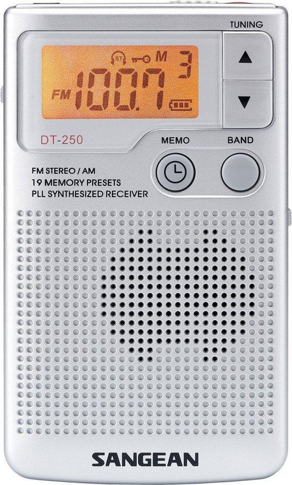Sangean kompaktes Taschenradio (UKW/MW, inkl. Kopfhörer) »DT-250« in Silber