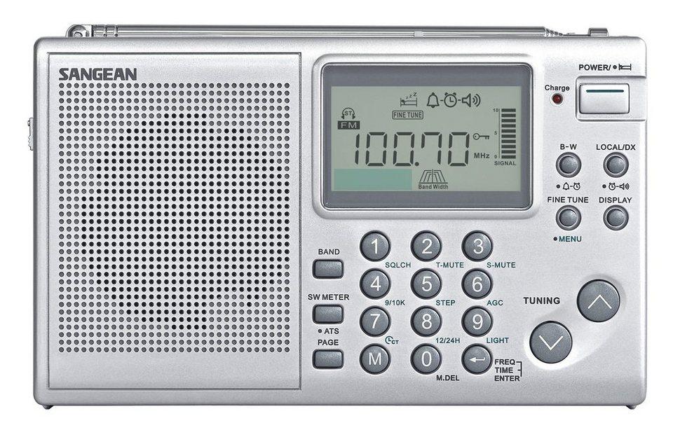 Sangean Weltempfänger (UKW/MW/KW, Dual-Alarm, inkl. Tasche) »ATS-405« in Silber