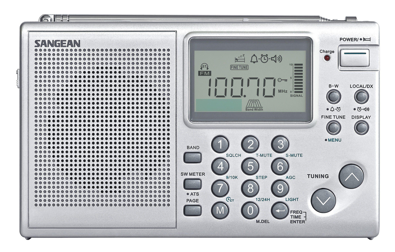 Sangean Weltempfänger (UKW/MW/KW, Dual-Alarm, inkl. Tasche) »ATS-405«