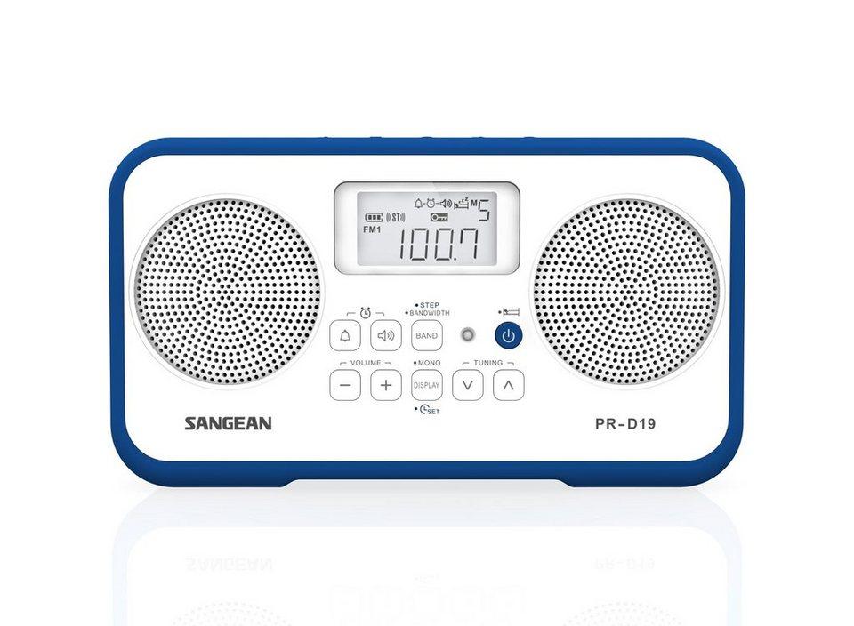 Sangean tragbares Stereo-Radio (UKW/MW, Dual-Alarm, AUX-In) »PR-D19 weiß/blau« in Blau