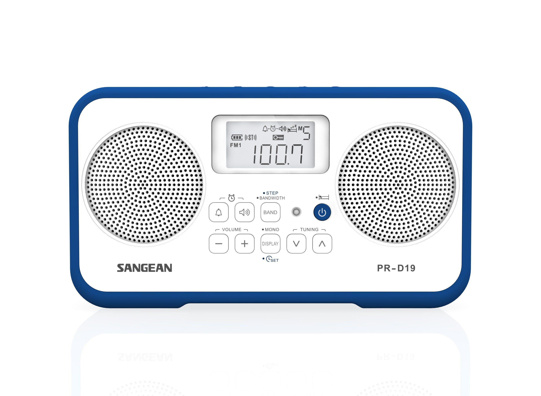 Sangean tragbares Stereo-Radio (UKW/MW, Dual-Alarm, AUX-In) »PR-D19 weiß/blau«