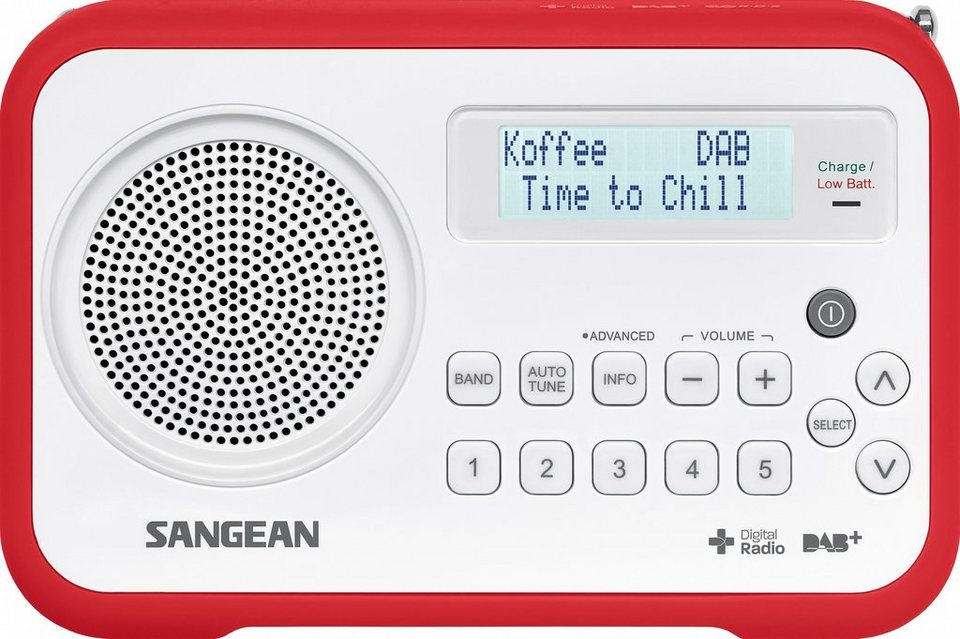 Sangean tragbares Digitalradio (DAB+/UKW) »DPR-67 weiß/rot« in Rot