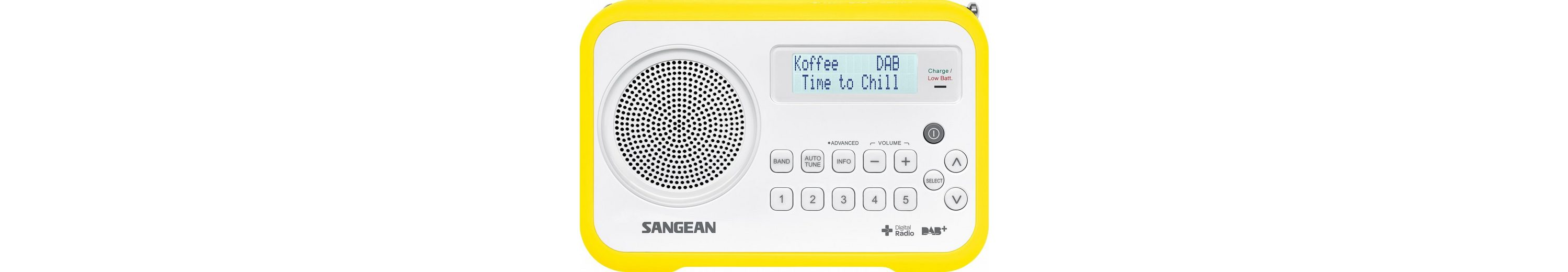 Sangean tragbares Digitalradio (DAB+/UKW) »DPR-67 weiß/gelb«