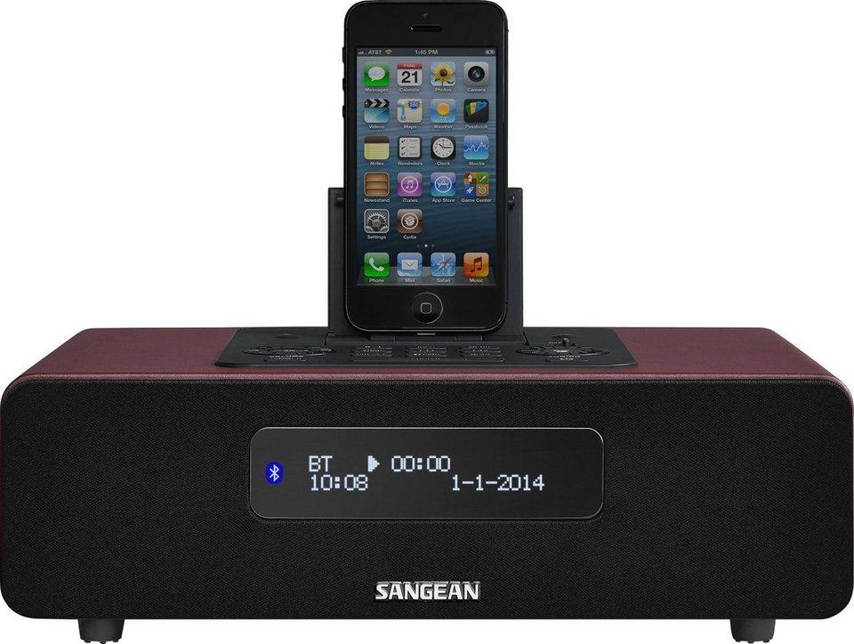 Sangean digitales Tischradio mit Dockingstation (DAB+/UKW, Bluetooth, »DDR-38« in Rot