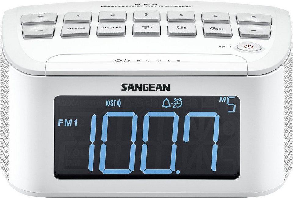 Sangean Uhrenradio (UKW/MW, Dual-Alarm, AUX-In) »RCR-24« in Weiß