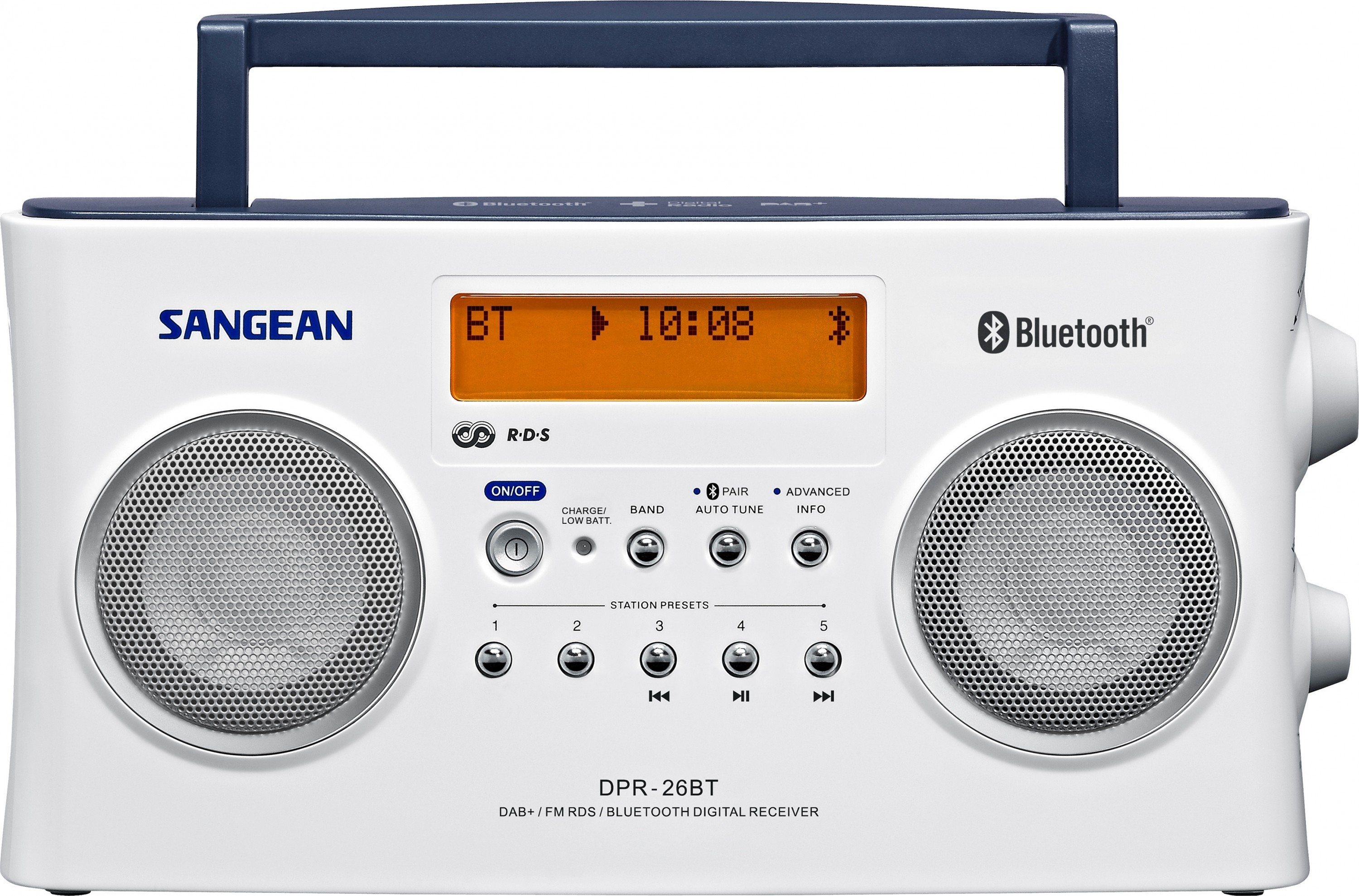 Sangean Stereo-Digitalradio (DAB+/UKW, Bluetooth, AUX-In) »DPR-26BT weiß«