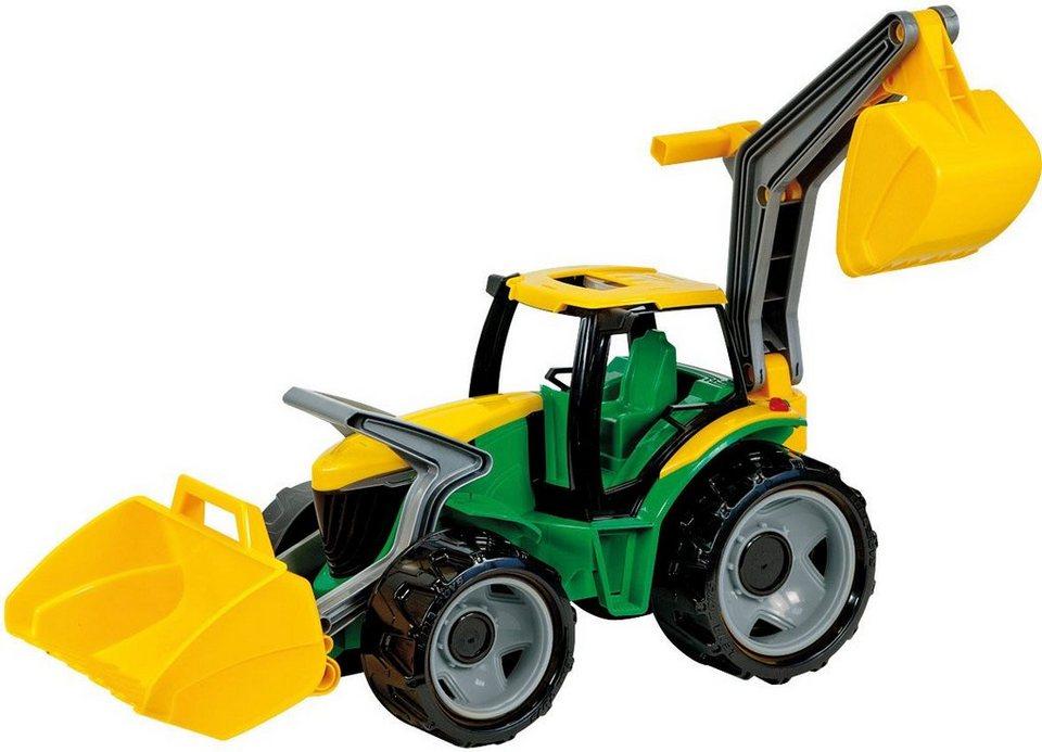 LENA® Spielfahrzeug, »Starke Riesen Traktor mit Frontlader/Baggerarm grün/gelb« in grün/gelb