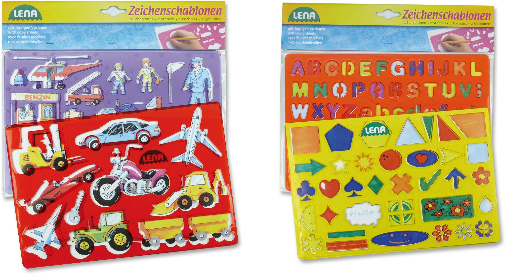 LENA® Malset, »Zeichenschablonen Fahrzeuge und Formen«