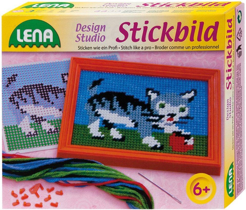 LENA® Stickset mit Rahmen, »Stickbild Katze«