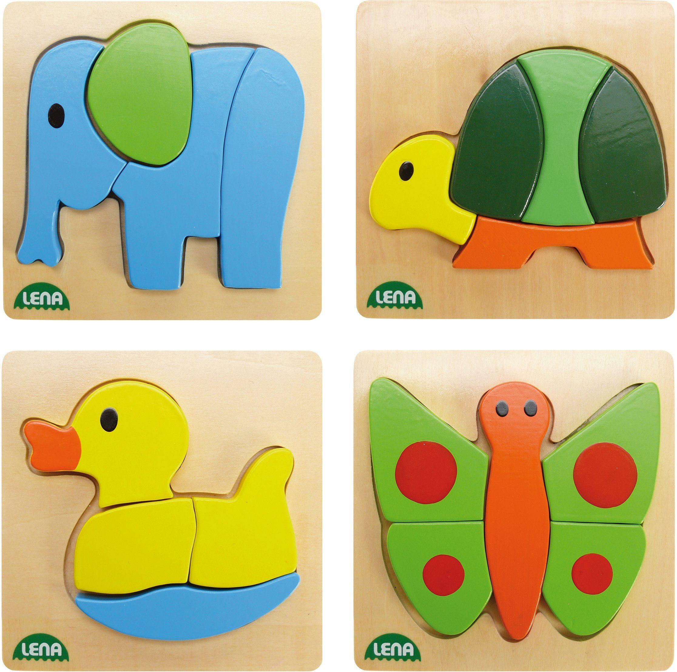 Motorikspielzeug Holzspielzeug Holzpuzzle mit Tieren