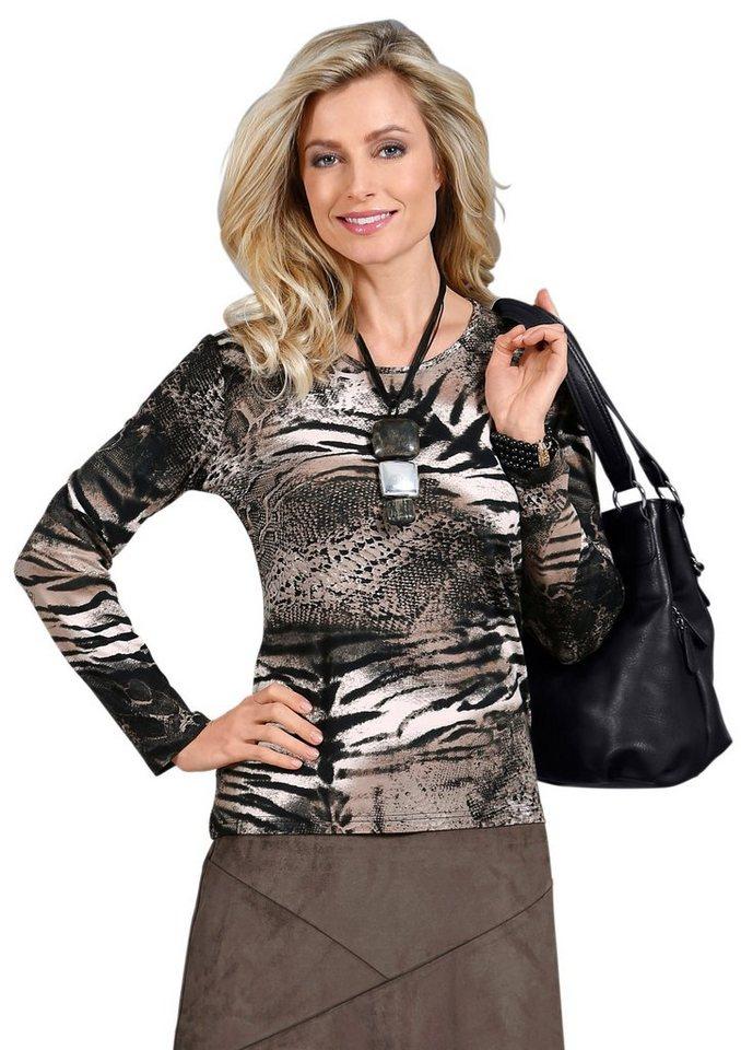 Lady Shirt mit Rundhals-Ausschnitt in mokka-beige-gemustert