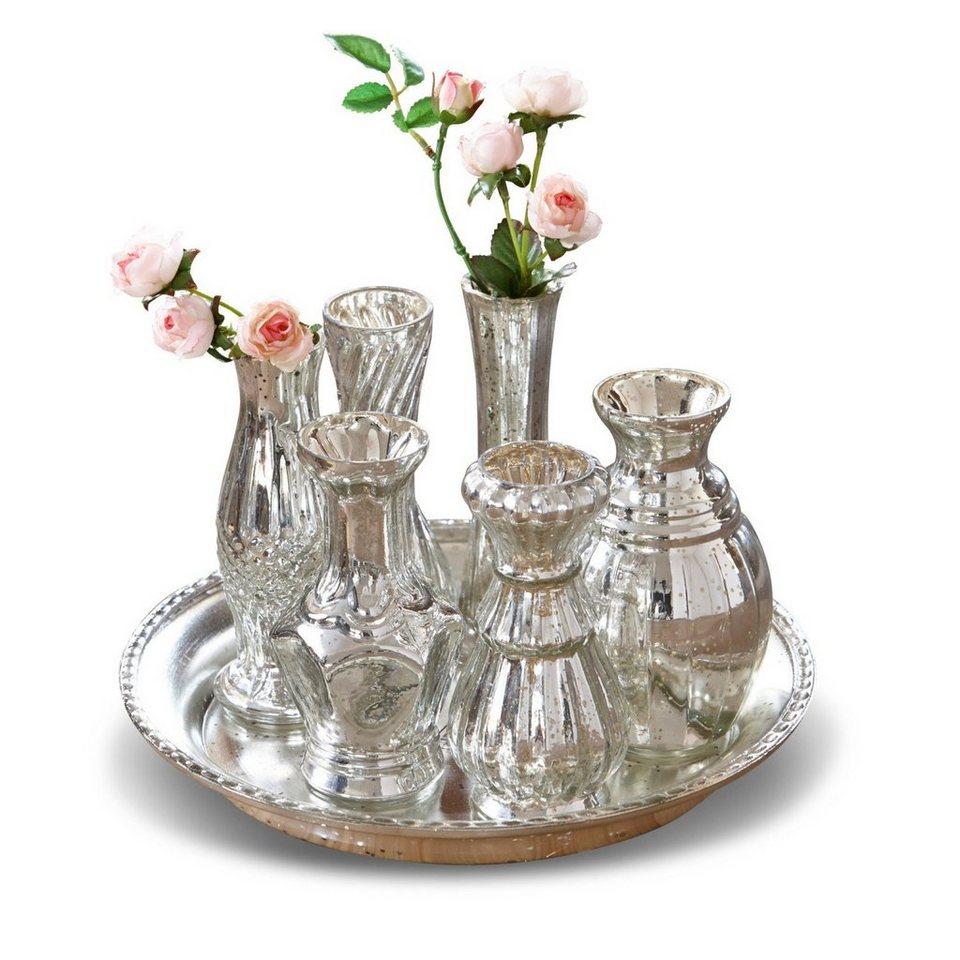 Loberon Tablett mit Vasen »Blairville« in antiksilber