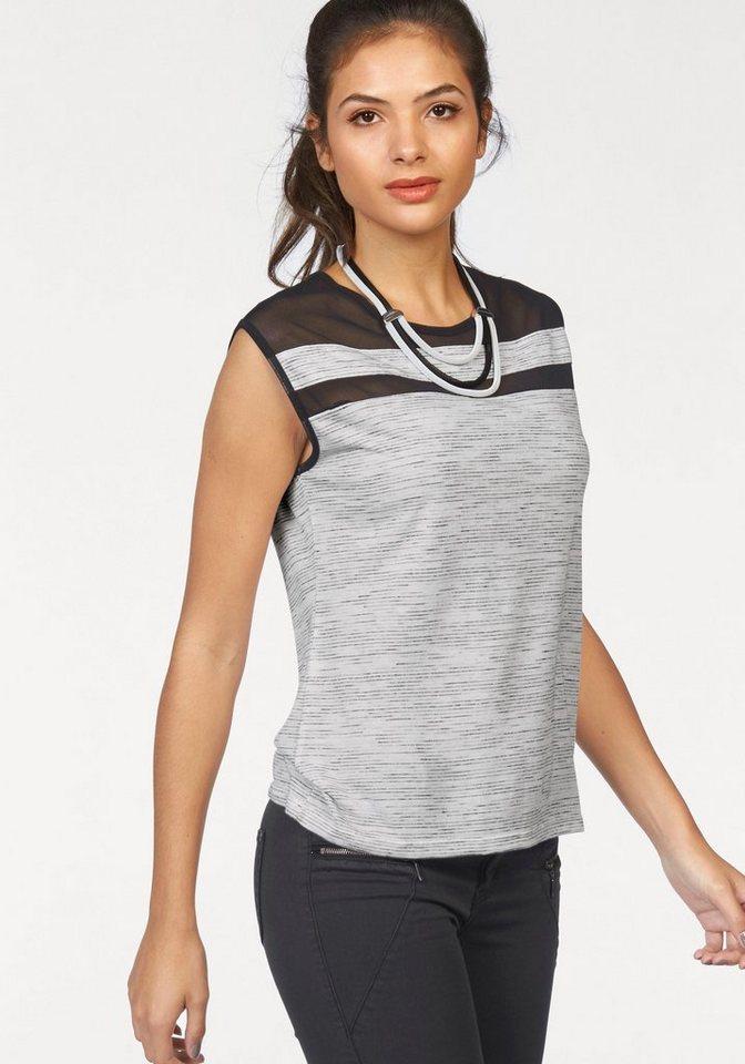 AJC Oversize-Shirt mit transparenten Einsätzen in ecru-schwarz