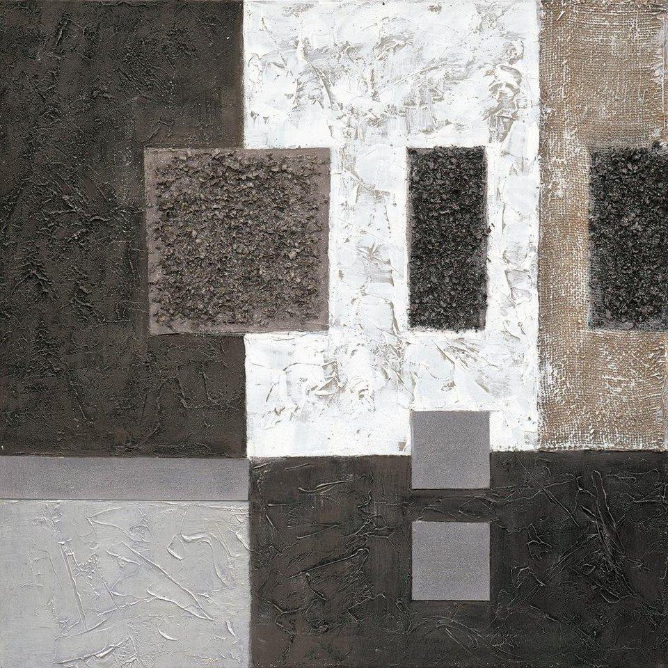 Eurographics Handgemaltes Ölgemälde »Black Squares«, 80/80 cm in schwarz/silber