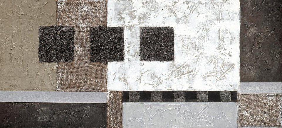 Eurographics Handgemaltes Ölgemälde »Black And White Shadows«, 110/50 cm in weiß/schwarz