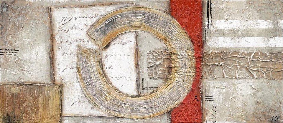 Eurographics Handgemaltes Ölgemälde »Imagine II«, 110/50 cm in grau/rot