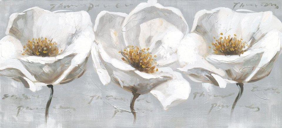 Eurographics Handgemaltes Ölgemälde »Sunlight Flowers«, 110/50 cm in grau