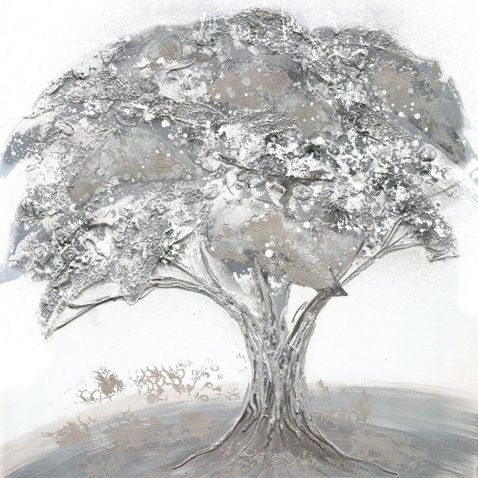 Eurographics Handgemaltes Ölgemälde »Lonesome Tree«, 80/80 cm in grau