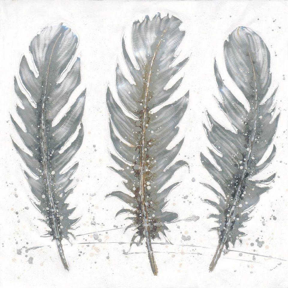 Eurographics Handgemaltes Ölgemälde »Feathers in November«, 80/80 cm in grau