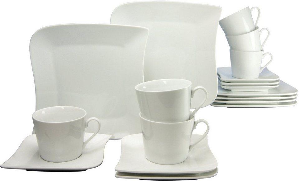 CreaTable Kaffeeservice, Porzellan, 18 Teile, »SYDNEY« in weiß