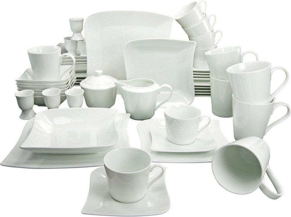 CreaTable Kombiservice, Porzellan, 50 Teile, »SYDNEY« in weiß