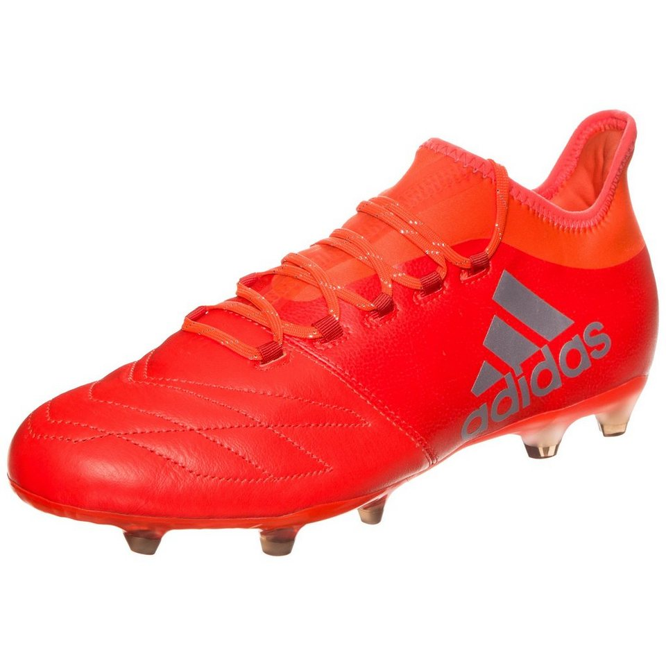 adidas Performance X 16.2 FG Leather Fußballschuh Herren in neonrot / silber
