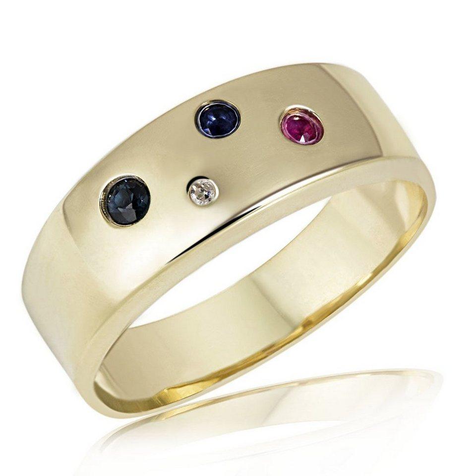 goldmaid Damenring Color Feeling 375/- Gelbgold 1 Rubin 2 Saphire 1 Diama in goldfarben