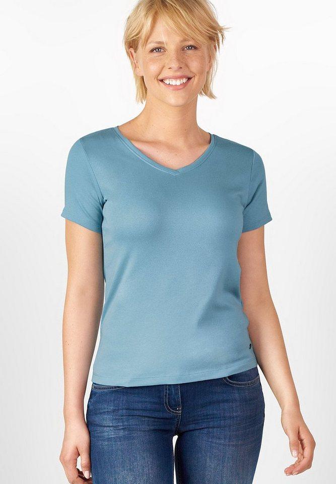 CECIL V-Neck Shirt im Basic Style in glazed neptune blue
