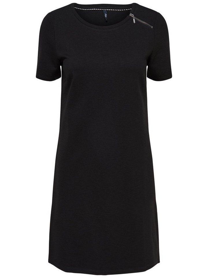 Only Reißverschlussdetail- Kleid mit kurzen Ärmeln in Black