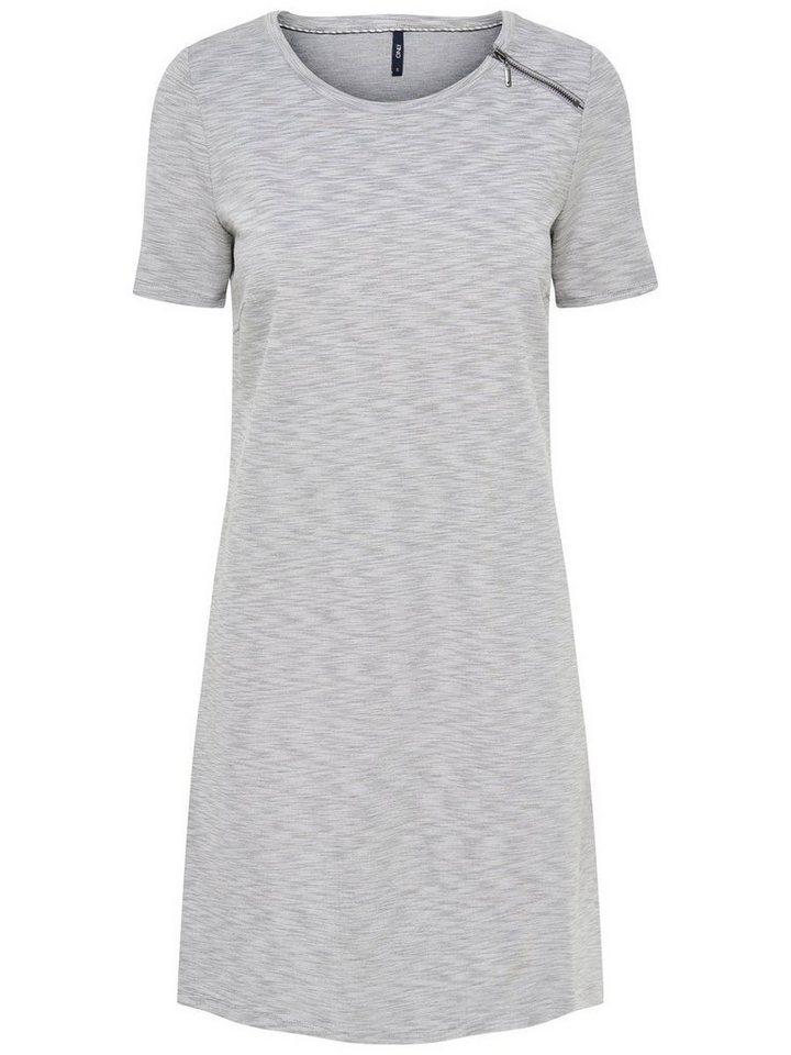 Only Reißverschlussdetail- Kleid mit kurzen Ärmeln in Light Grey Melange