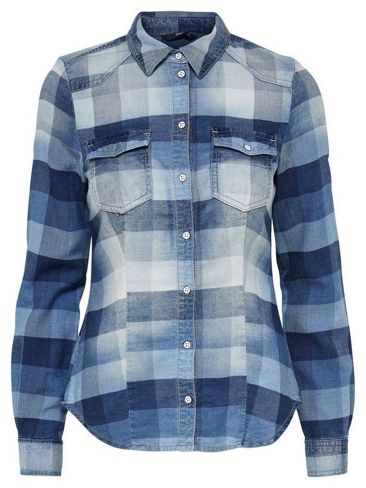 Only Kariertes Langarmhemd in Medium Blue Denim