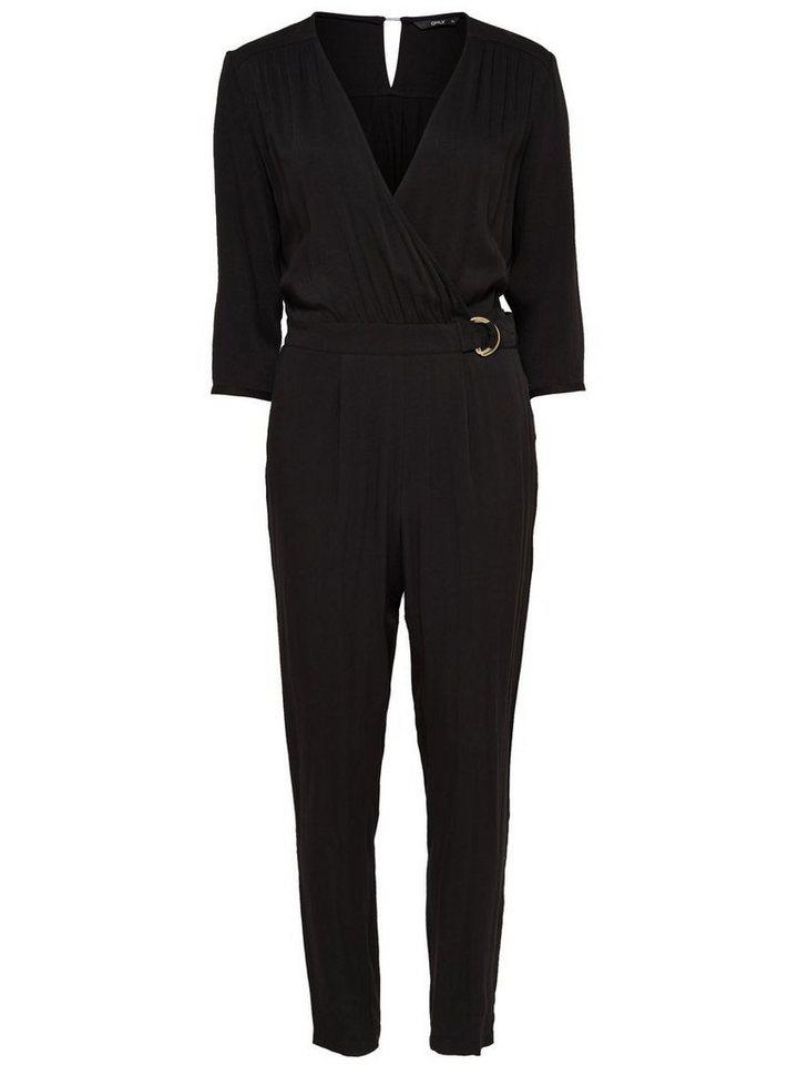 Only 3/4-ärmeliger Jumpsuit in Black