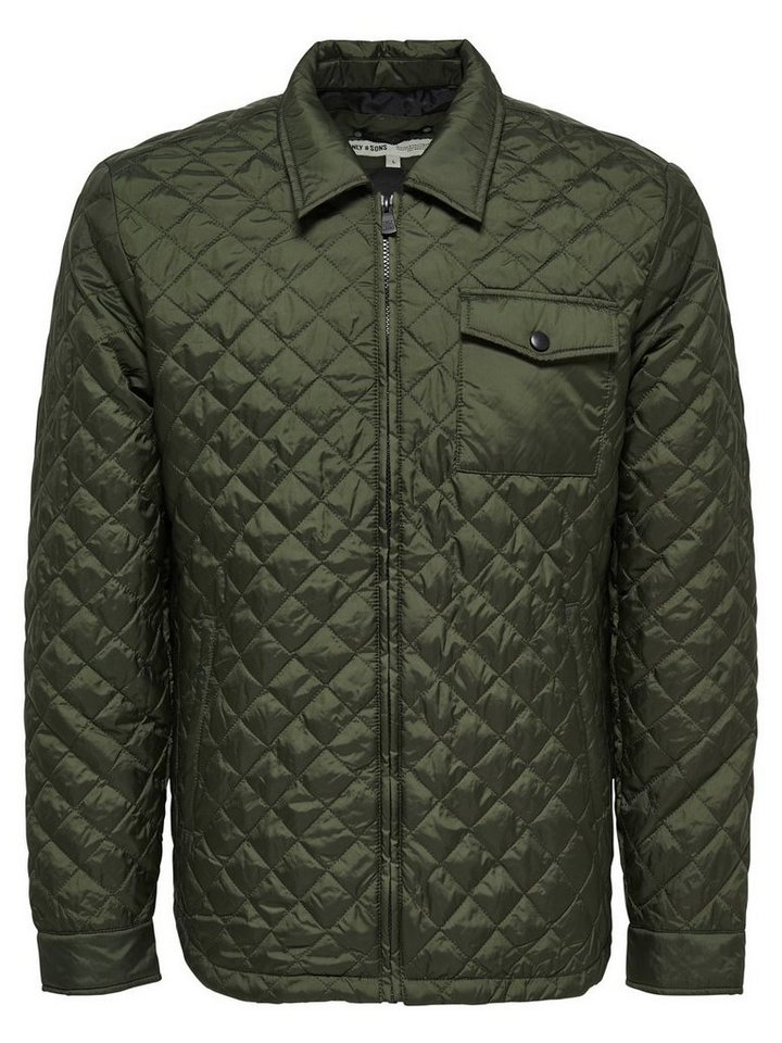 ONLY & SONS Einfarbige Steppjacke in Forest Night