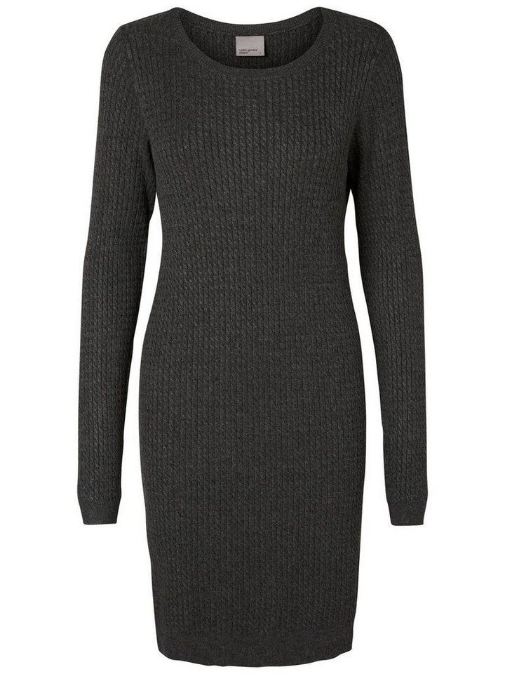 Vero Moda Gestricktes Kleid mit langen Ärmeln in Dark Grey Melange