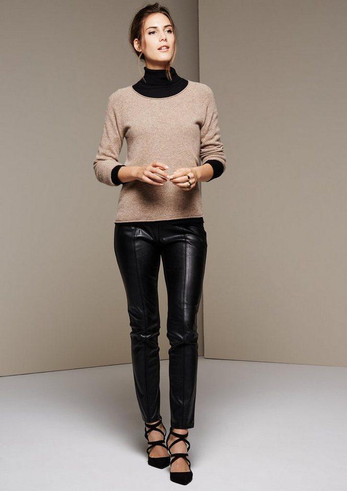 COMMA Extravagante Leggings mit Fake-Leder Einsätzen in black