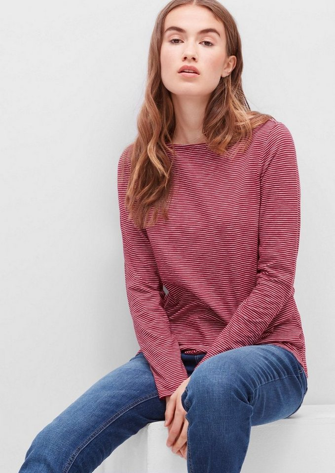 s.Oliver RED LABEL Ringelshirt mit U-Boot-Ausschnitt in winter berry stripes
