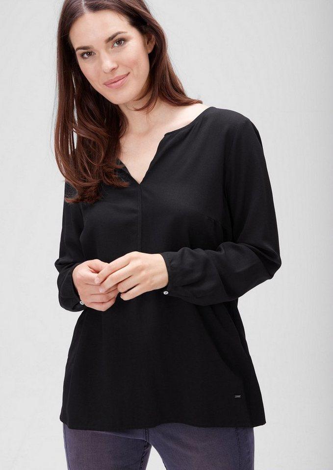 TRIANGLE Bluse mit Jacquard-Minimalmuster in black