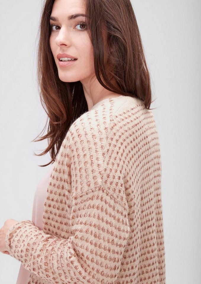 TRIANGLE Lochstrick-Cardigan mit Mohair in cafe latte