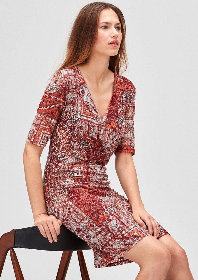 s.Oliver BLACK LABEL Cache Coeur-Kleid aus Mesh in orange AOP paisley p