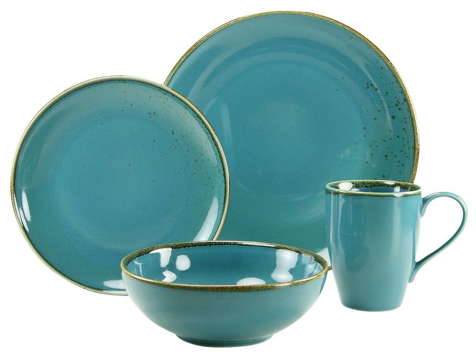 CreaTable Geschirr-Set, Steinzeug, 4 Teile, wasserblau, »NATURE COLLECTION« in wasserblau