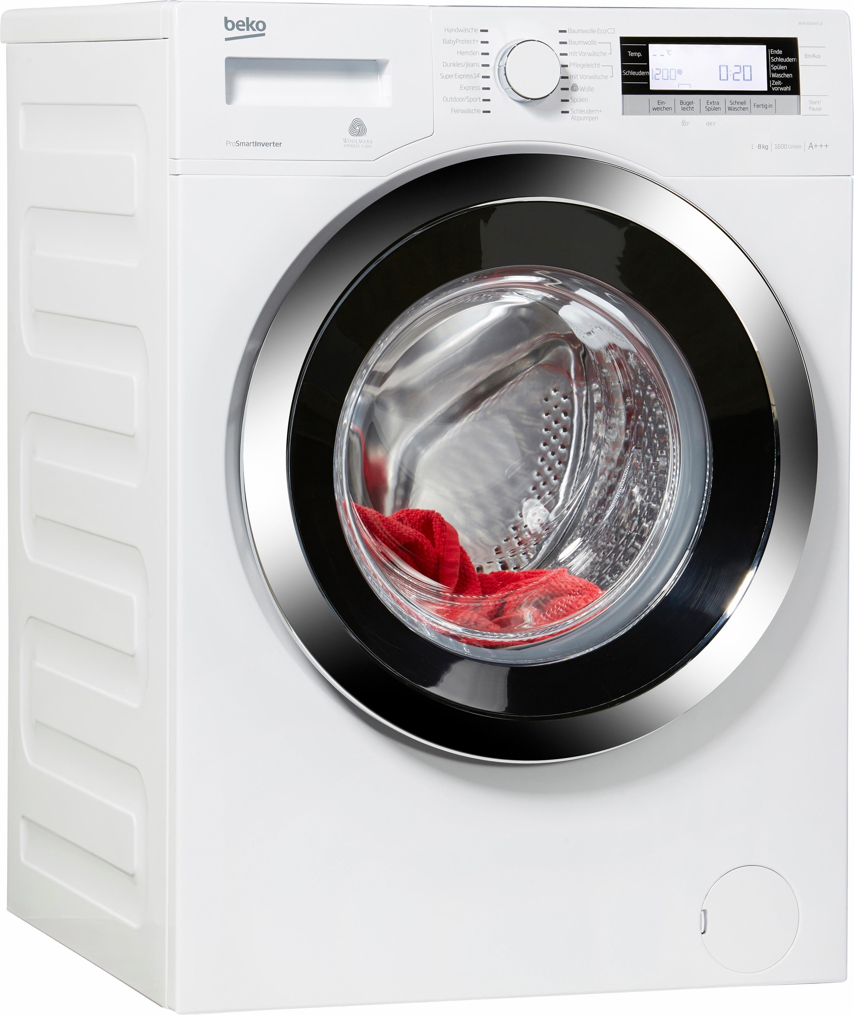 BEKO Waschmaschine WYA 81643 LE, A+++, 8 kg, 1600 U/Min