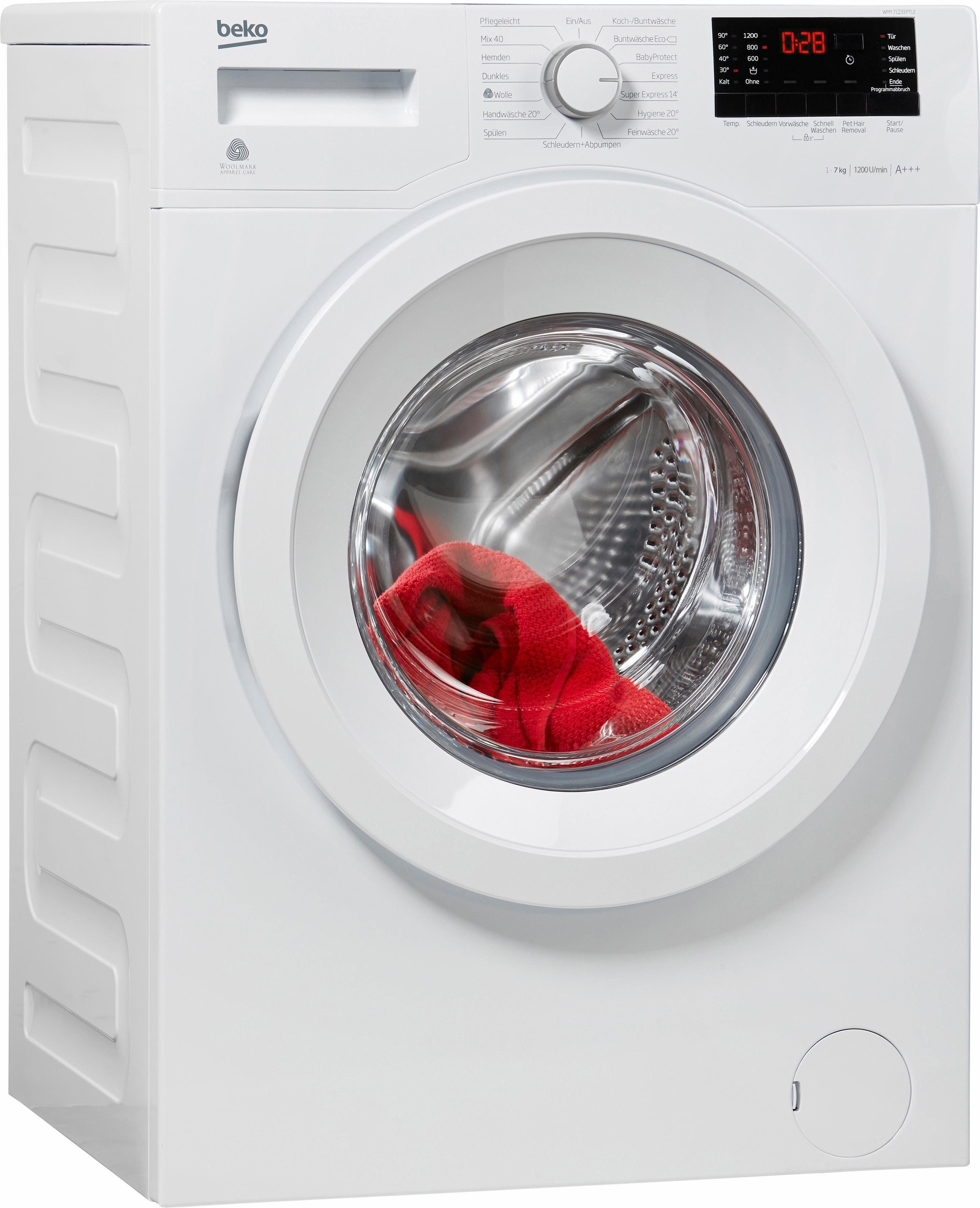BEKO Waschmaschine WMY 71233 PTLE, A+++, 7 kg, 1200 U/Min