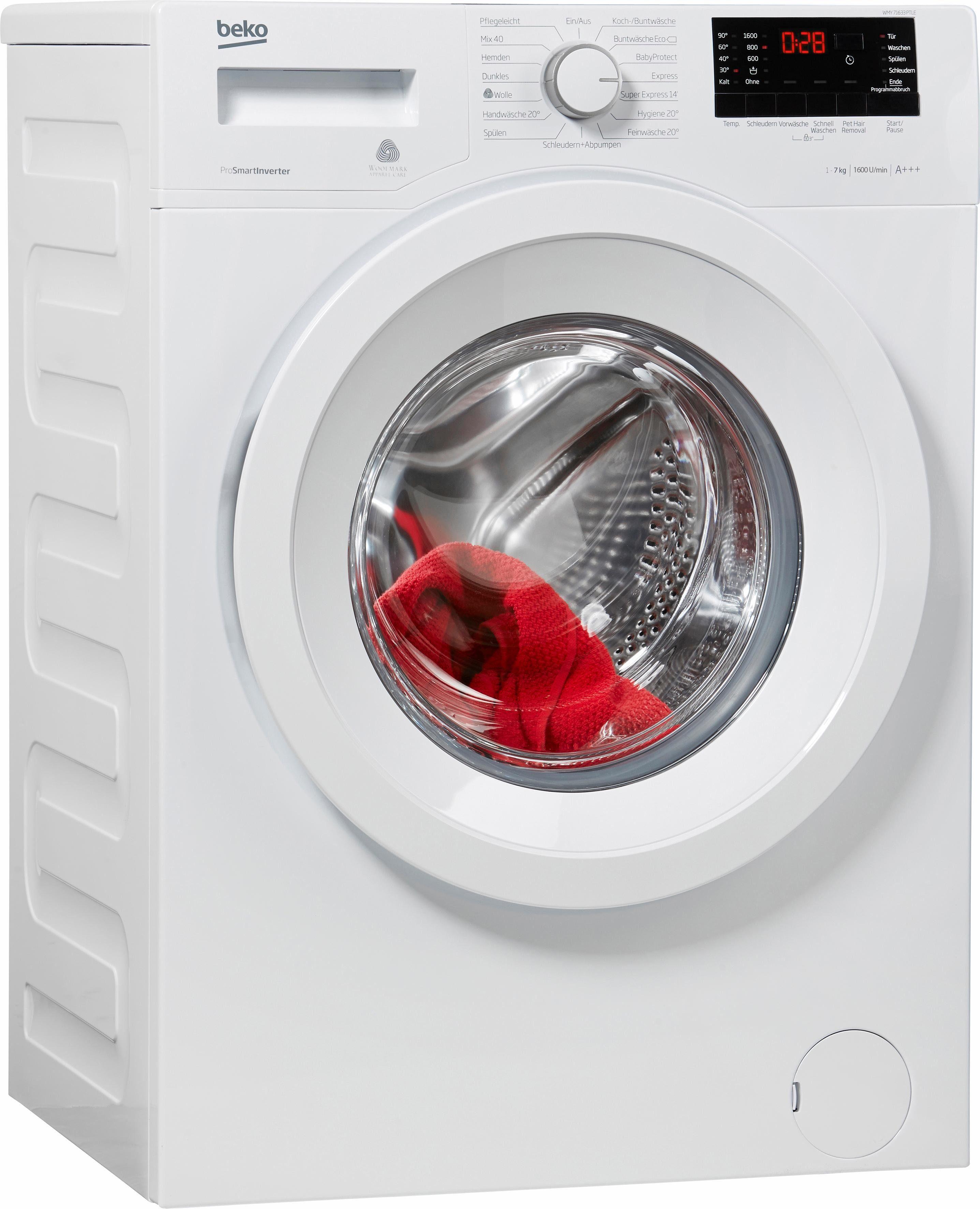 BEKO Waschmaschine WMY 71633 PTLE, A+++, 7 kg, 1600 U/Min