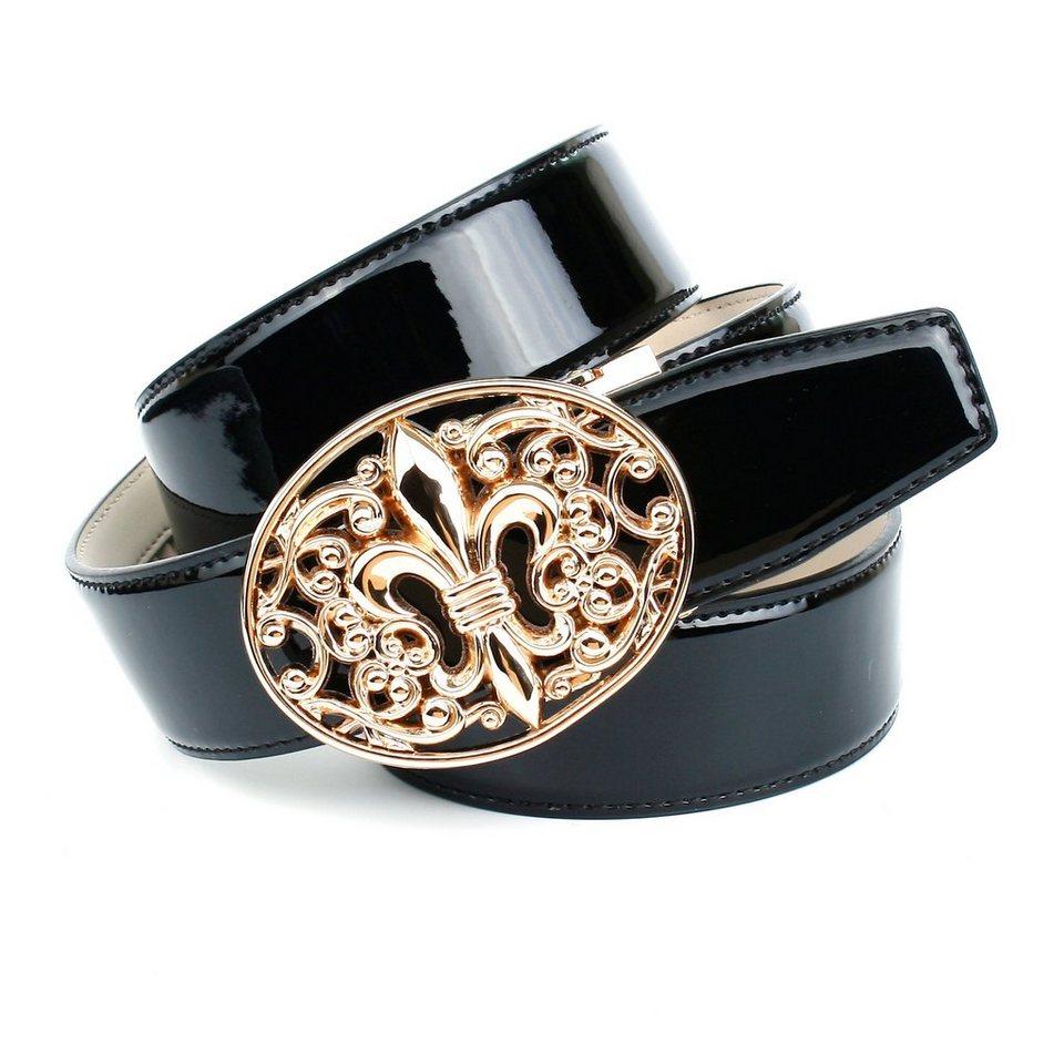 Anthoni Crown Lackledergürtel mit französischer Lilie in Gold in Schwarz