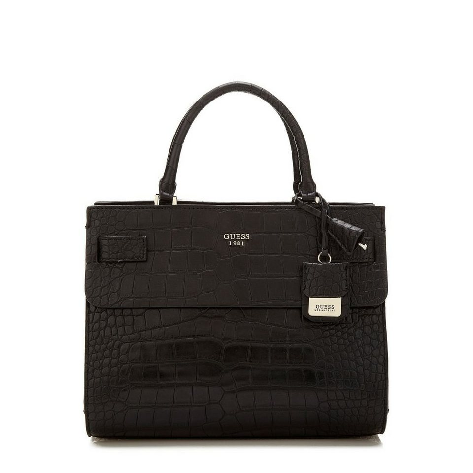 Guess Henkeltasche Cate Kroko-Optik in Schwarz
