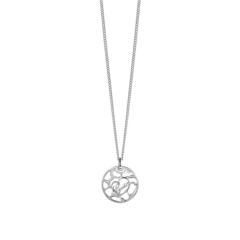 Guess Lange Logo-Halskette rhodiniert in Silber