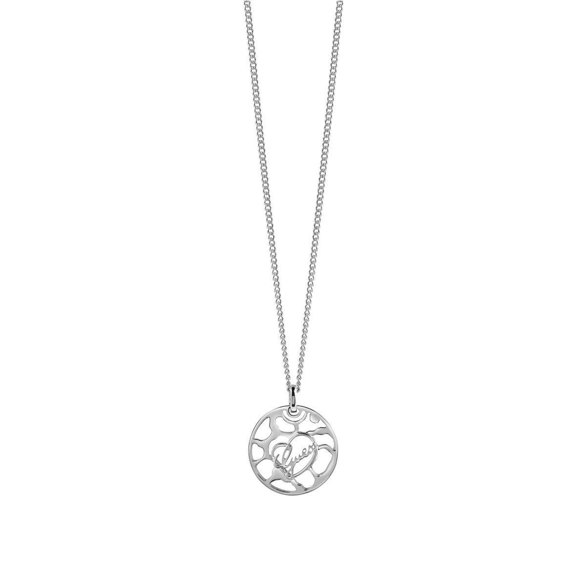 Guess Lange Logo-Halskette rhodiniert