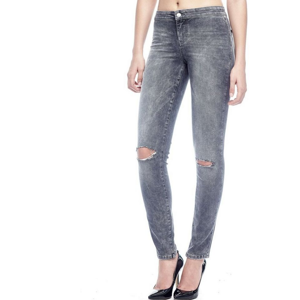 Guess ZERRISSENE JEANSLEGGINGS in Grau