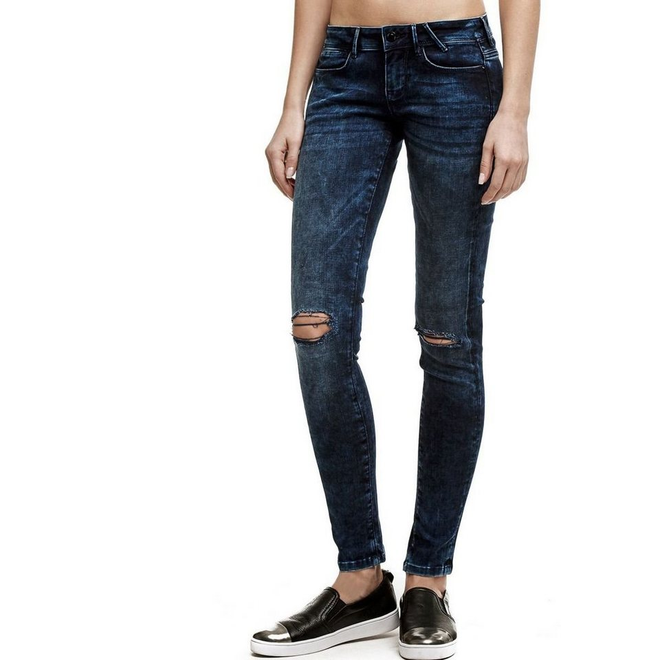 Guess ZERRISSENE JEGGINGS in Blau