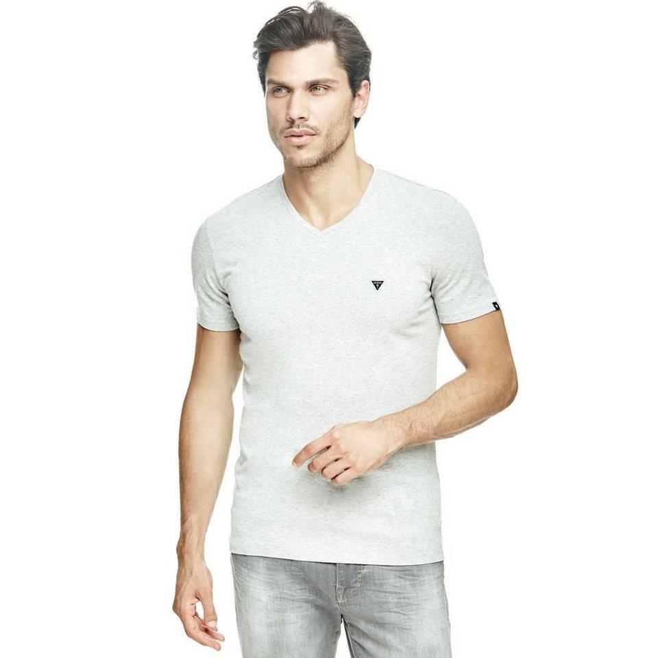 Guess T-Shirt »Plain V Neck« in Grau